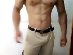 Hot muscle stud flex and grab his bulge