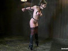 Felony Bound in Cruel Spandex, Iron and Leather Bondage!