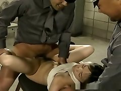 Skimpy prisoner gal gets hardcore fucked by military dudes
