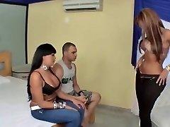 Buxom latina Tgirls and one guy 3 way
