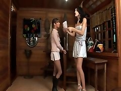 Tall she-male fucks a chick with a delight