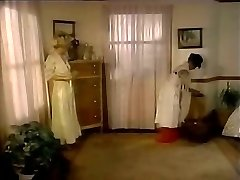 Lustful dominatrix seduces maid and makes her slurp pussy