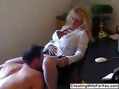 Mature super-hot secretary swallow cum