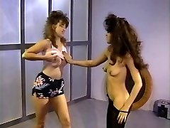 Vintage lesbians going crazy in gym