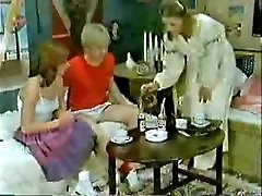 Brother's friend and girlfriend toying to the doctor when mother  comes-Retro