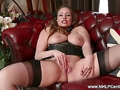 All-natural enormous tits brunette Sophia Delane strips to nylons heels and wanks