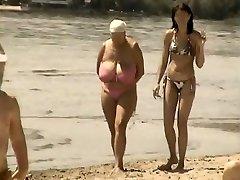 Retro big breasts mingle on Russian beach