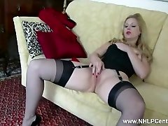 Blonde Aston Wilde taunt in vintage lingerie heels nylon strip panties wank
