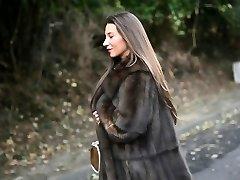 exhibitionist: nude under luxe fur decorate & antique garterbelt