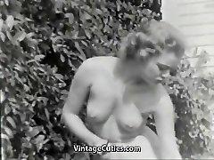 Nudist Girl Feels Superb Naked in Garden (1950s Vintage)