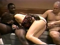 Antique interracial threesome with double penetration