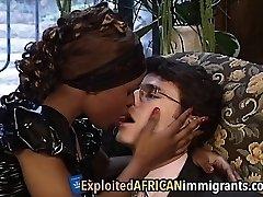 African Babe Enjoys Railing Big Milky Schlong