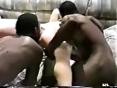 Horny wifey gets gangbanged by dark-hued studs.