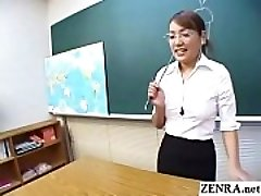 Classic JAV CFNM teacher hand job oral demonstration