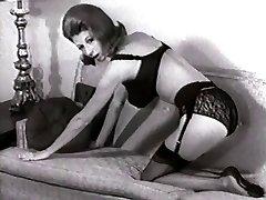 SOFA STRIP - vintage nylons pantyhose striptease big udders