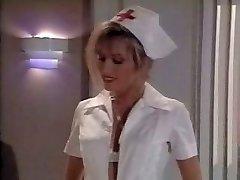 Vintage nurse scene. Jizzes on her feet
