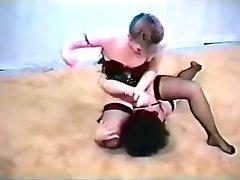 Retro moms fighting in underwear