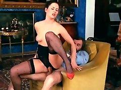 Retro Classical - Ebony Crotchless Satin Panties Action