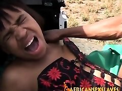 Rough outdoor banging with a ultra-kinky African slut and huge