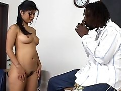Asian babe takes a black fuck-stick