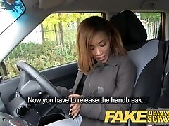 Fake Driving School youthfull ebony learner enjoys creampie for free lessons