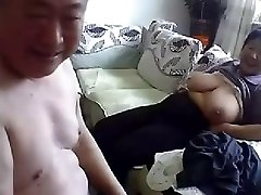 Old Chinese Couple Get Naked and Plumb on Web Cam