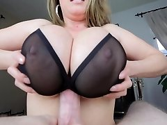 TITTYFUCK UNDER Bra! MASSIVE TITS! Popshot BETWEEN TITS