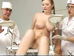 a plumpy busty Russian babe on a gynecology examination gets humiliated