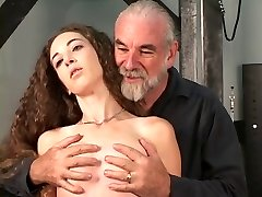 Slave gets restraint bound to table master gives nip torture with clips