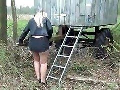 Nice blonde BBW Cougar with nice ass upskirt urinating 1