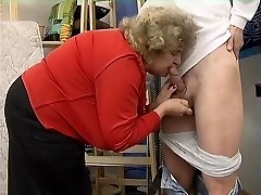 Obese Grannie in Stockings Fucks the Boy