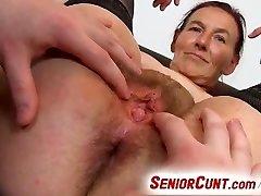 Grandma Linda pussy spreading close-ups and fuck stick-fucking
