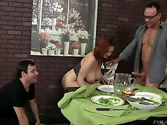 Lustful redhead cockslut Siri pleases two horny studs