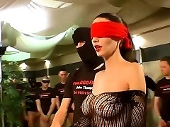 German Goo Femmes - Blindfolded MILF mass ejaculation gangbang