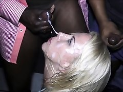 Cute blondie girl deep throats big cock who then