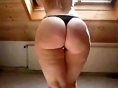 Sexy Blonde in High High-heeled Shoes Shows Off Her Round Ass