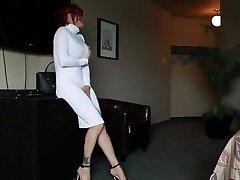 Audrey, White sundress, Louboutin and toy