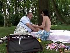 OLD YOUNG Romantic Sex Between Hefty Older Fellow and Beautiful Teen Girl