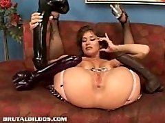 Big-boobed babe Felony fills her pussy with a monster dildo