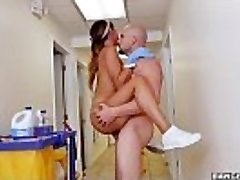 BANGBROS - The new cleaning chick swallows a load!