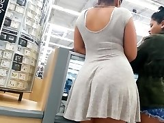 Candid booty mixed nymph in dress