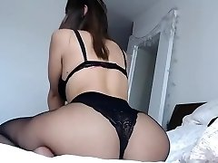 Curvey brunette enormous ass and boobs in sexy underwear