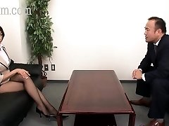 Japanese Pantyhose beauty with big boobies gets a cumshot