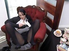 Youporn Chick Director Series: Big Boob geek damsel in pantyhose cums