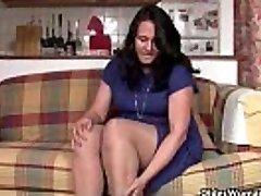 Curvy mom in tights fucks a dildo