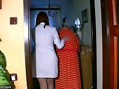 BBW chubby Nurse masturbate with old Grannie