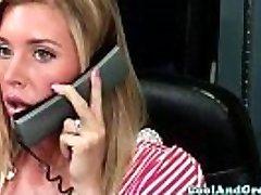 Nurse Samantha Saint gets wad sample on face
