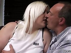 Blonde plumper gives head and rides cheating dinky