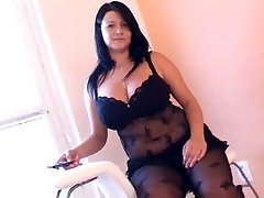 Plus-size in arousing black lingerie