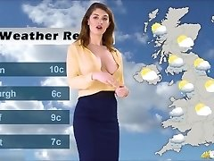 Katie's weather forecast, with no Brassiere underneath